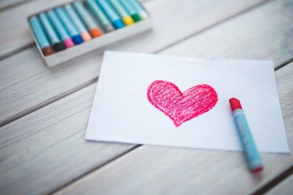 heart created with a crayon