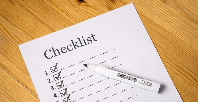 Checklist with numbered boxes.