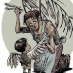 painting of a mom sewing feather into a child's wings.