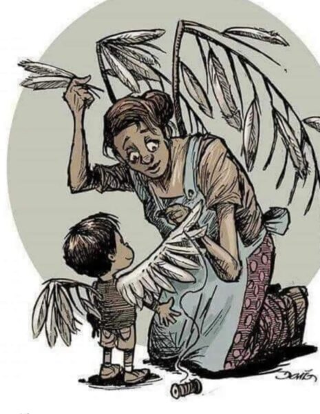 Paining of mom sewing feathers into child's wings.  Source Unknown