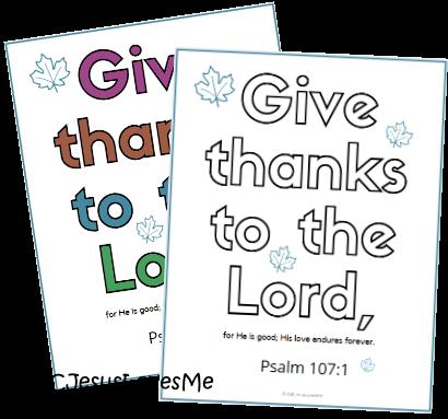 Psalm 107:1 Thanksgiving Coloring Sheet