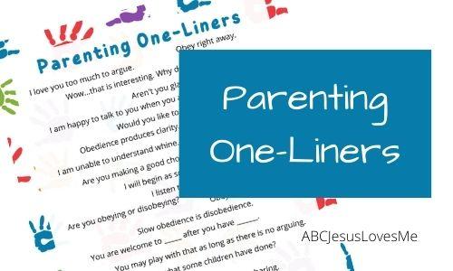 Parenting One-Liners Free Printable ABCJesusLovesMe