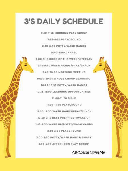 ABCJesusLovesMe Preschool Daily Schedule